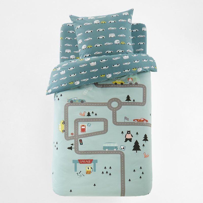 Blue car themed bedding