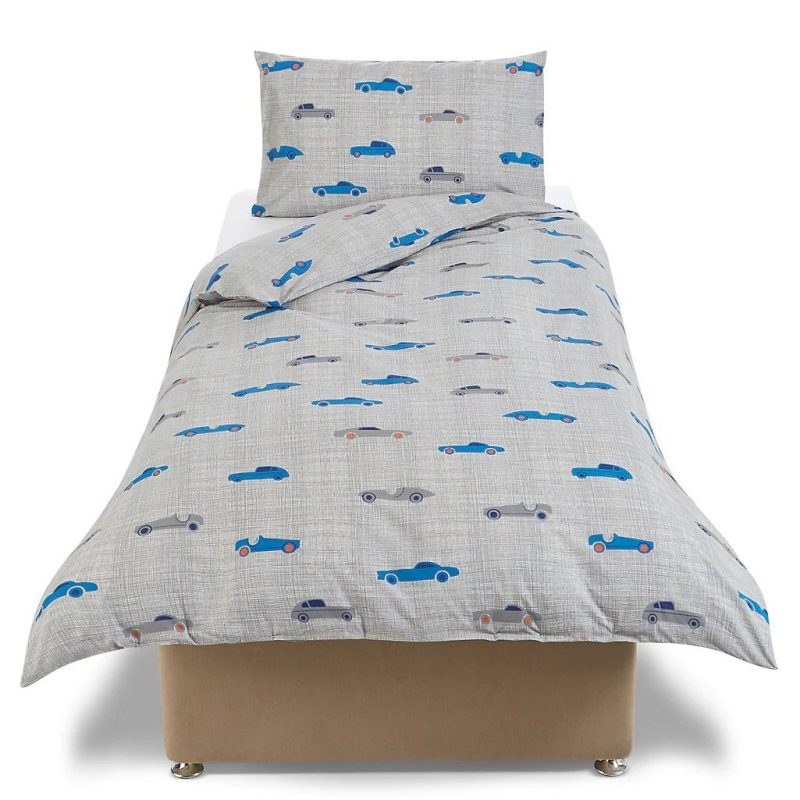 Grey bedding set with car pattern prints