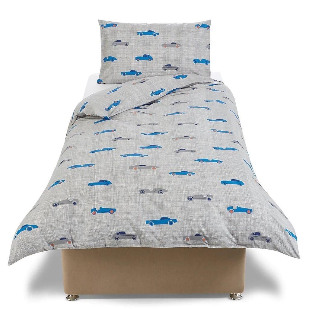 Grey bedding set with car pattern prints