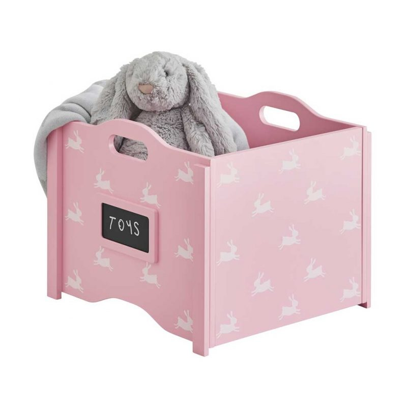 Pink toy box with white bunny prints