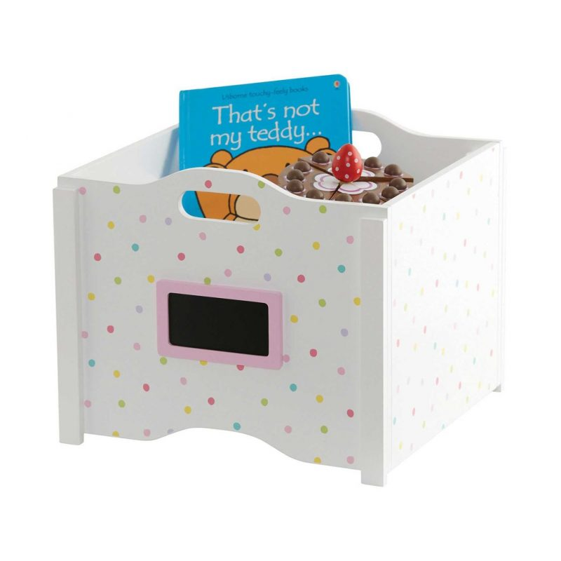 White toy storage box with confetti print
