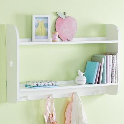 White, 2 tier shelf unit with stars cut-outs