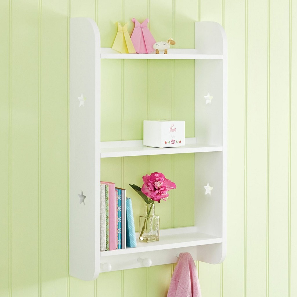 Tall white wall shelf unit with star cut-outs