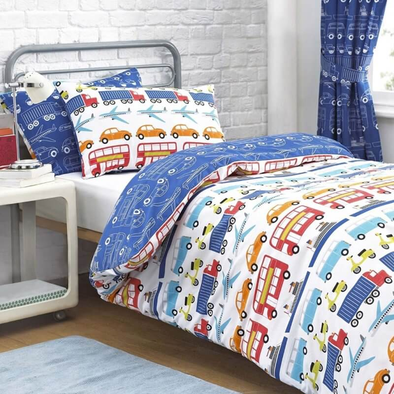 Transport theme bedding with cars, busses, trucks and mopeds