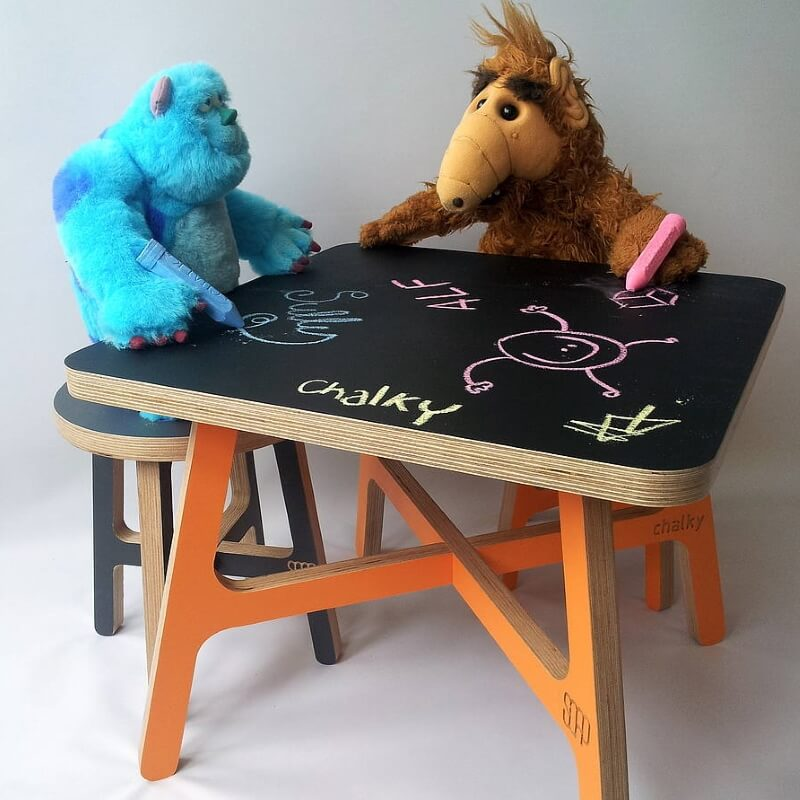 Chalkboard topped play table and stool