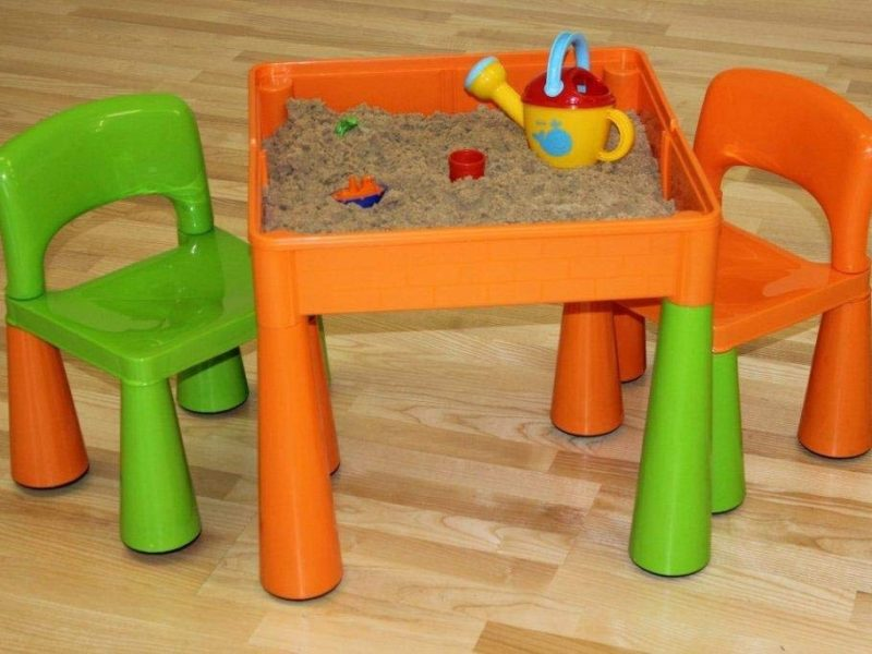 Play table filled with sand