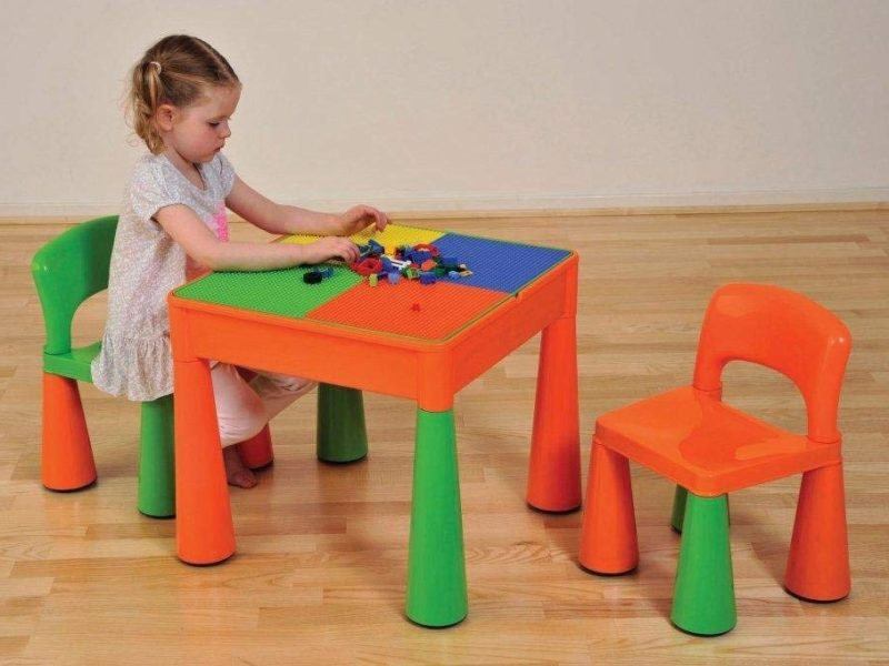 Multi-coloured table and chair set