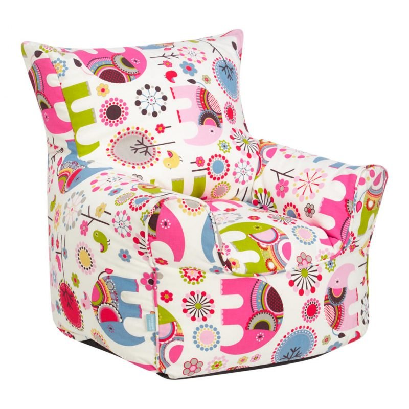 White bean bag chair with pink elephant prints