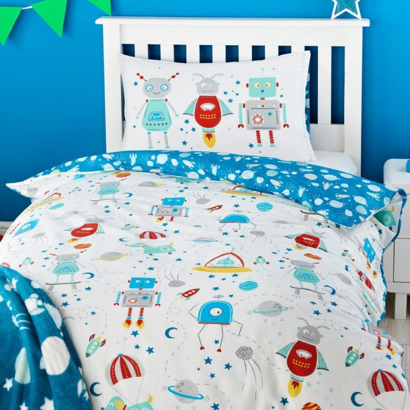 Space robots theme bedding