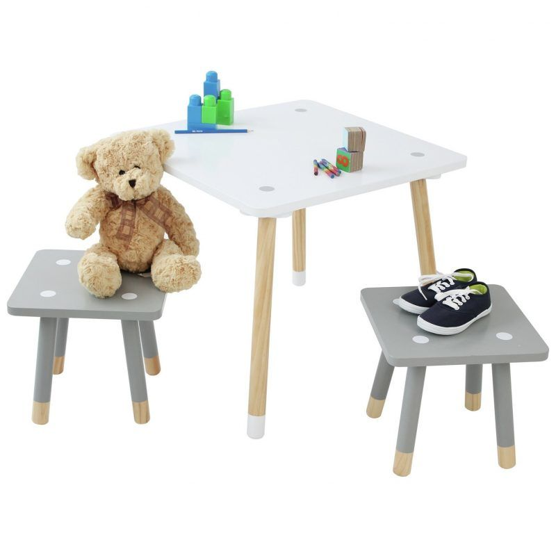 Children's Scandi-style table and stools.