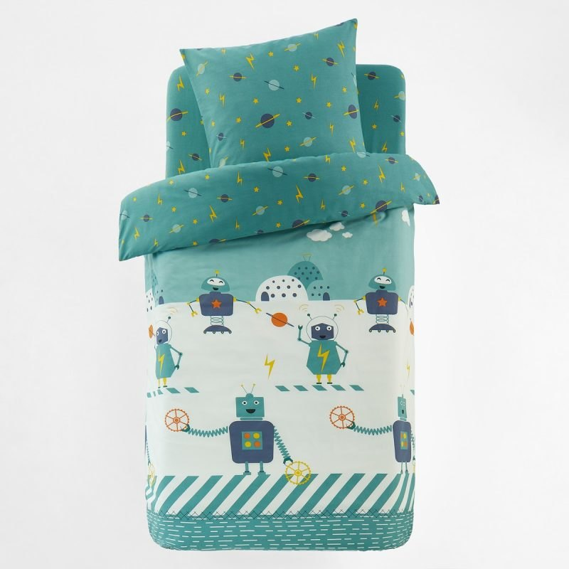 Green and white robots duvet cover