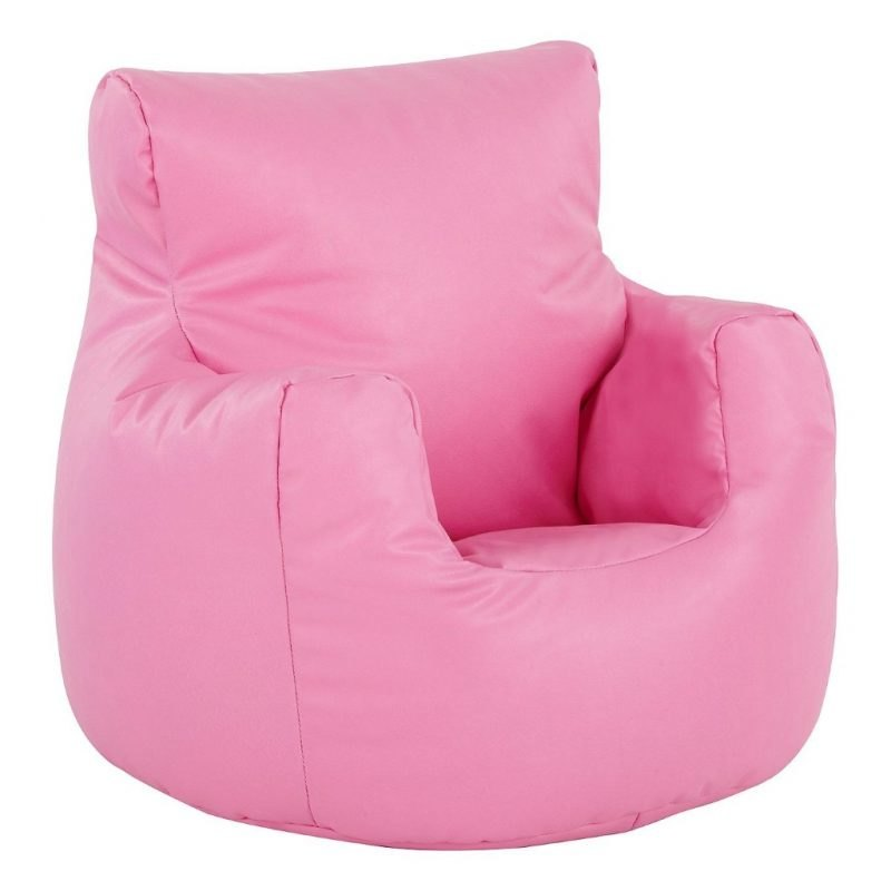 Pink faux-leather bean bag chair