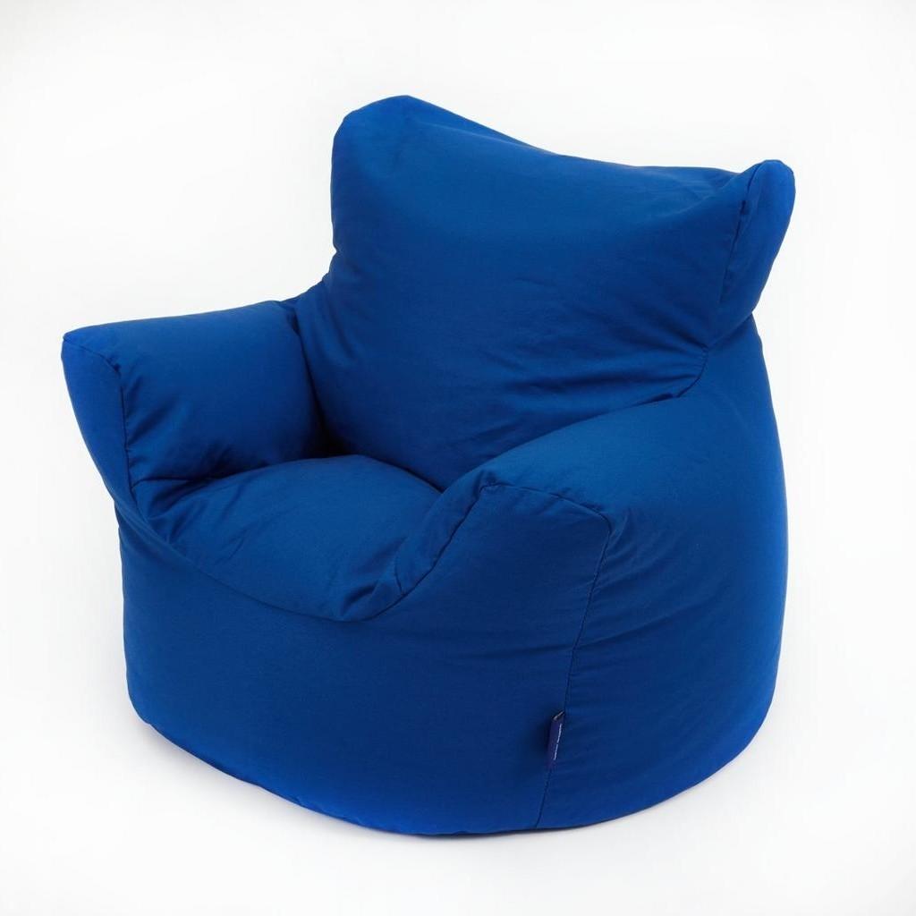 Plain blue cotton covered bean bag