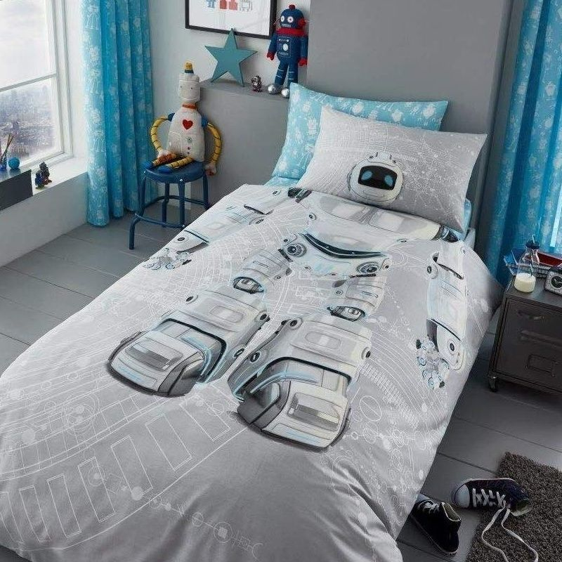 Grey bedding with large robot print