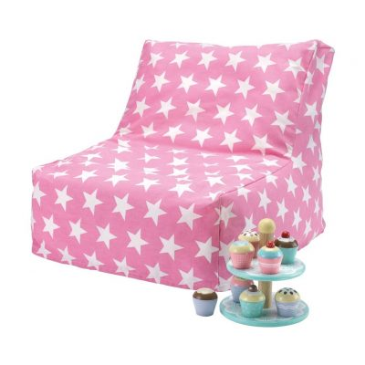 Pink/white star bean bag chair