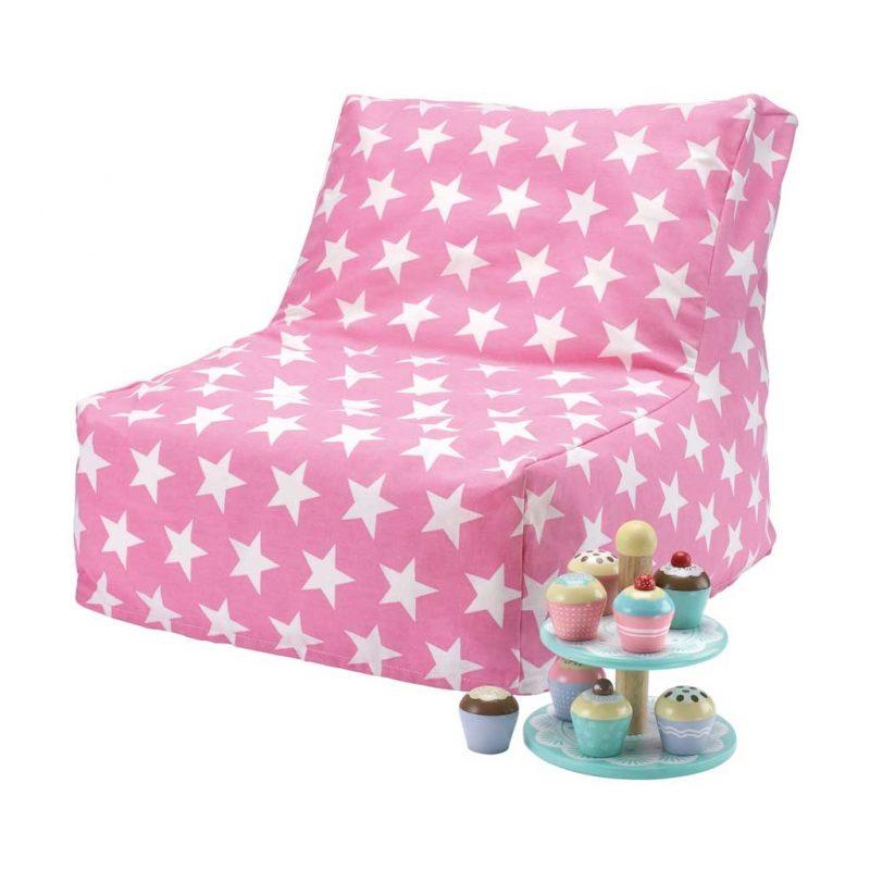 Pink/white star bean bag chair