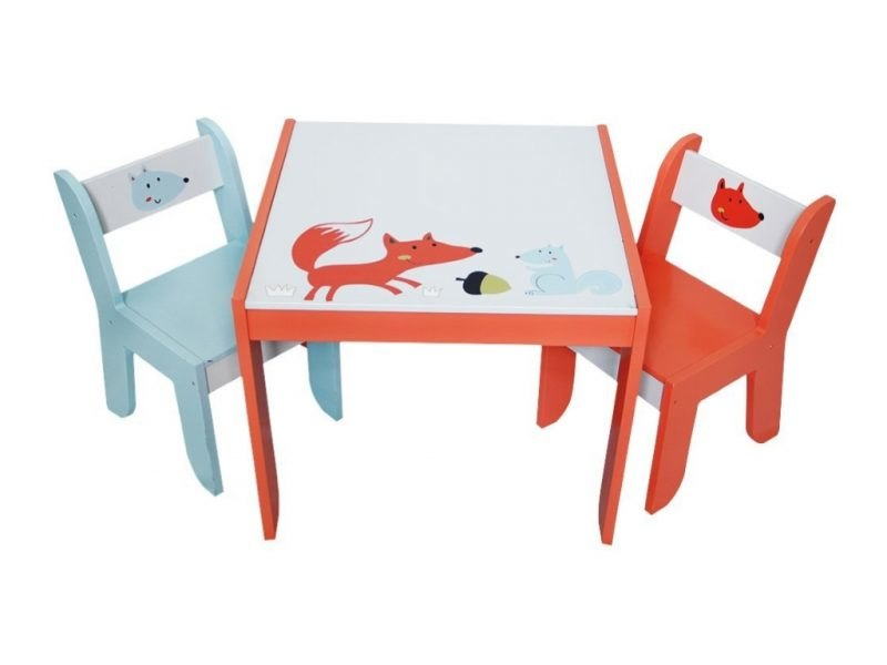 Kids table and chair set with a woodland animals theme