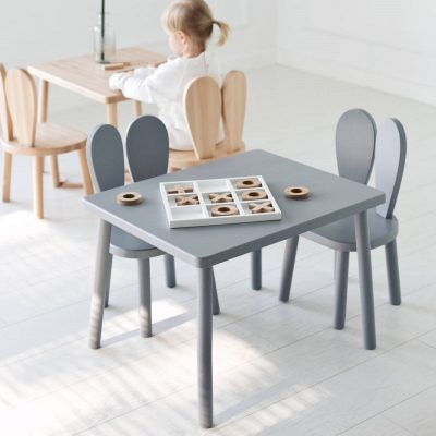Grey painted and natural play tables with matching chairs