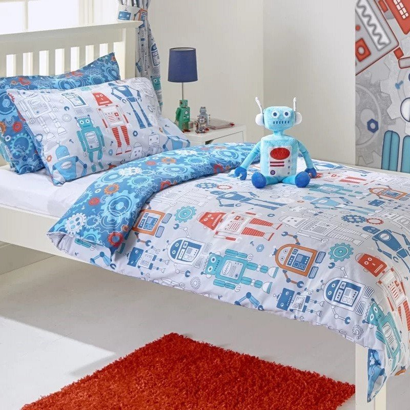 Reversible robot theme bedding
