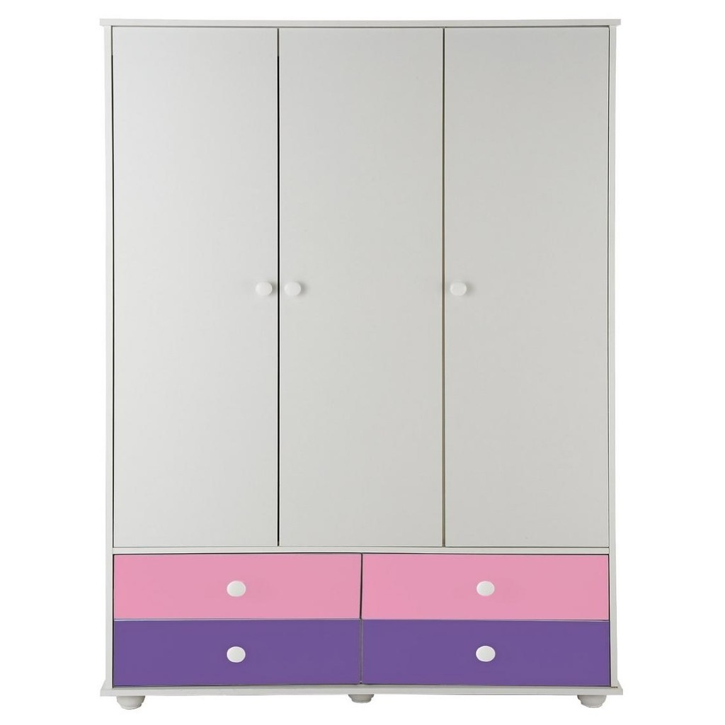3 door wardrobe with 4 pink/purple drawers