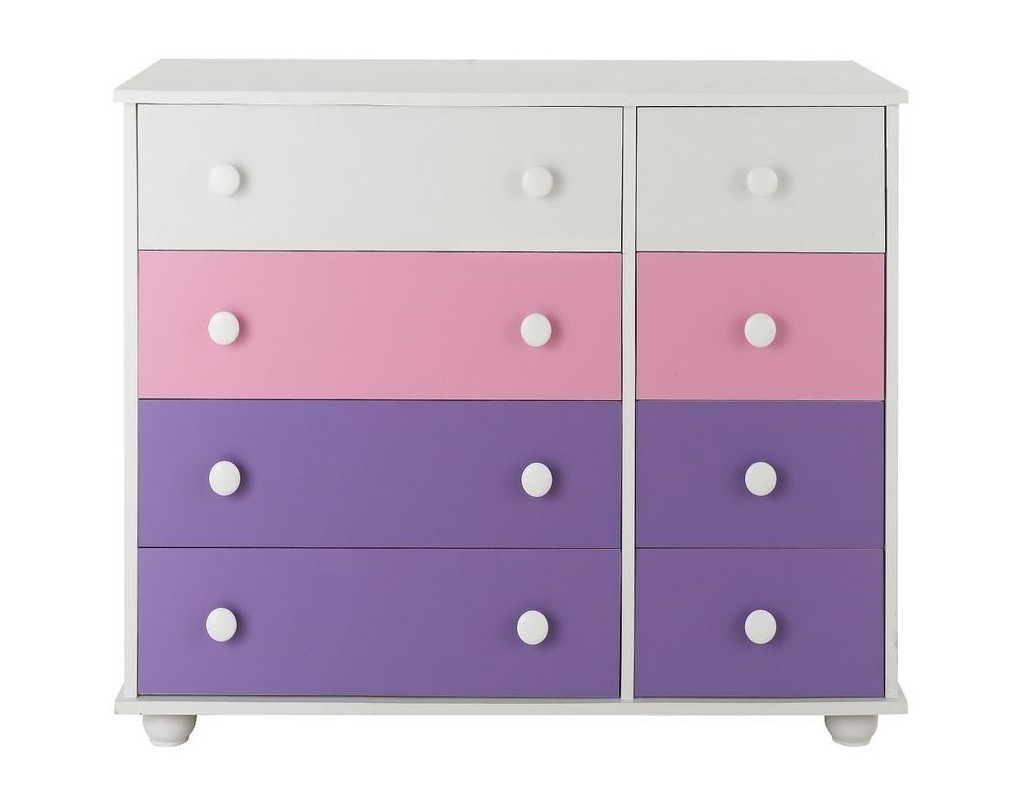 Set of 4 wide and 4 narrow drawers with purple/pink drawer fronts
