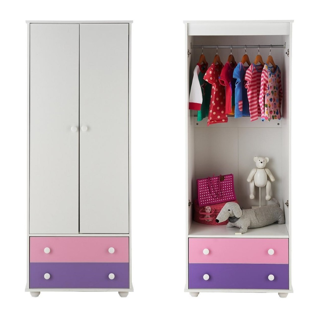 2 drawer wardrobe with pink/purple drawer fronts
