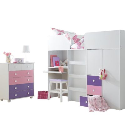 Kid's bedroom furniture with pastel coloured drawers