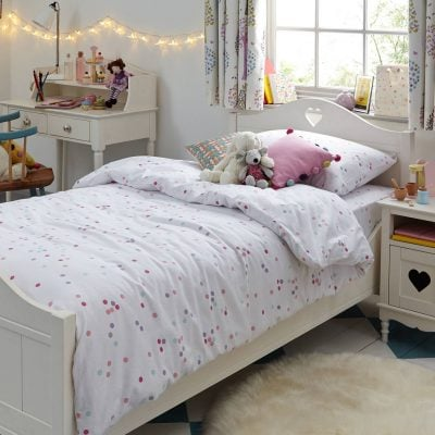 White bedroom furniture with heart cut-outs