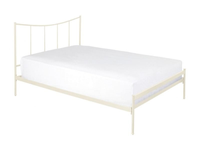 Ivory painted metal bed frame