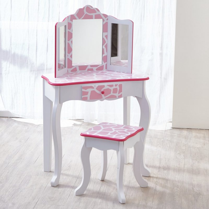 Kid's dressing table and stool with pink giraffe print design