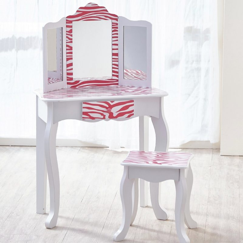 Kid's dressing table with pink zebra print design