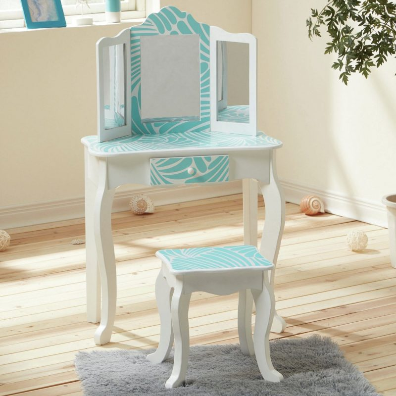 Kid's dressing table with tropical print design