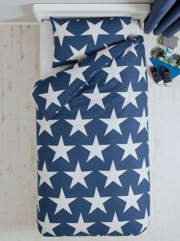 Cot Bed Duvet Cover Blue Stars