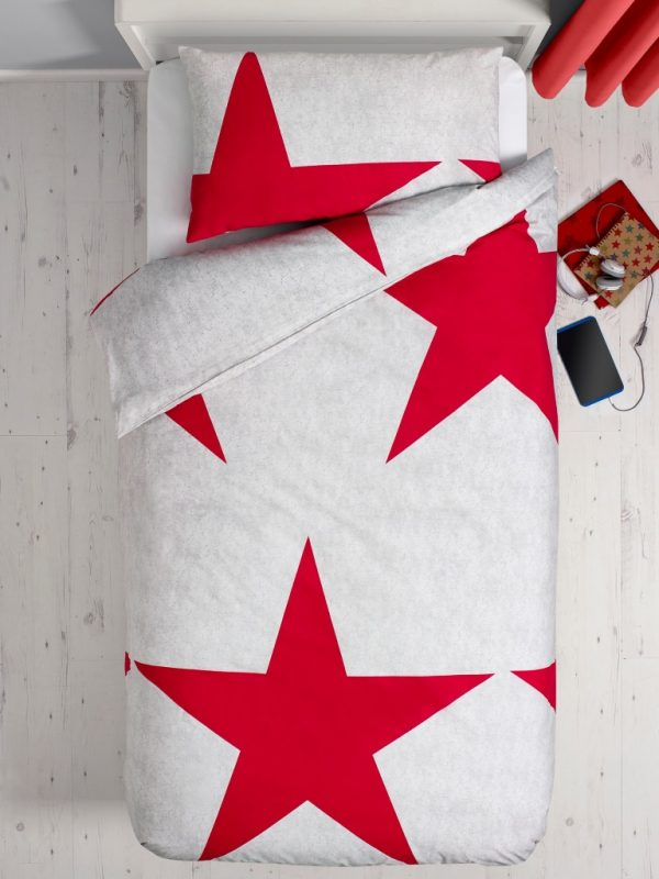 Plain bedding set with extra-large star print