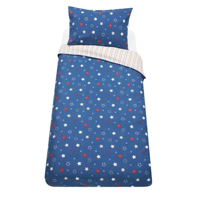 Dark blue bedding set with stars print