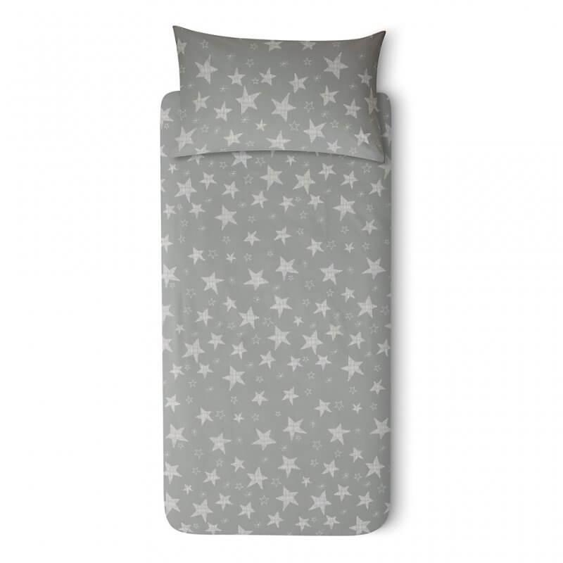 Grey duvet set with multi-stars print