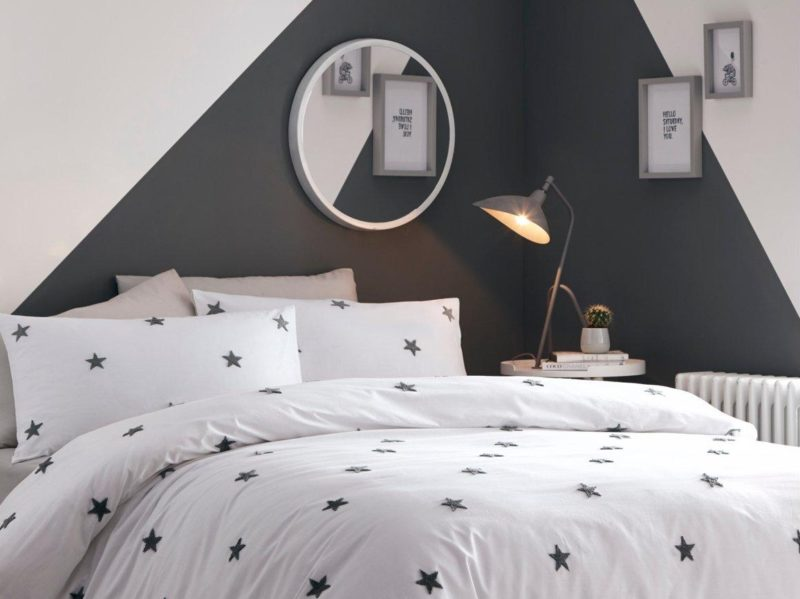 White duvet set with grey stars
