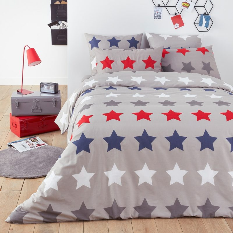 Grey duvet cover with stars print