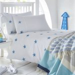 White cotton bedding set with embroidered stars pattern