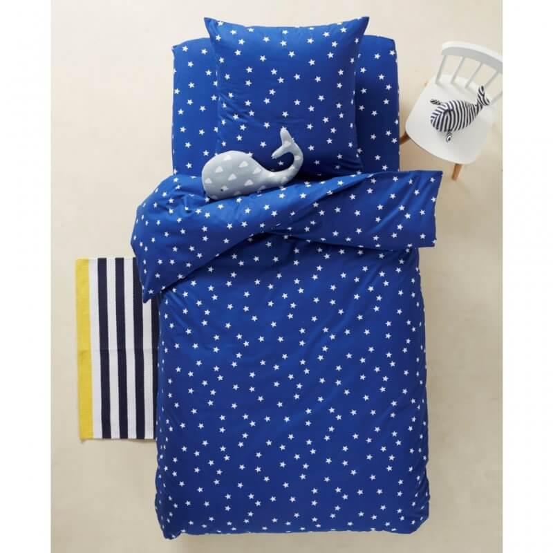 Blue multi-stars print bedding