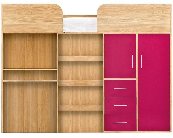 Mid-sleeper bed with pink cupboard doors and drawer fronts