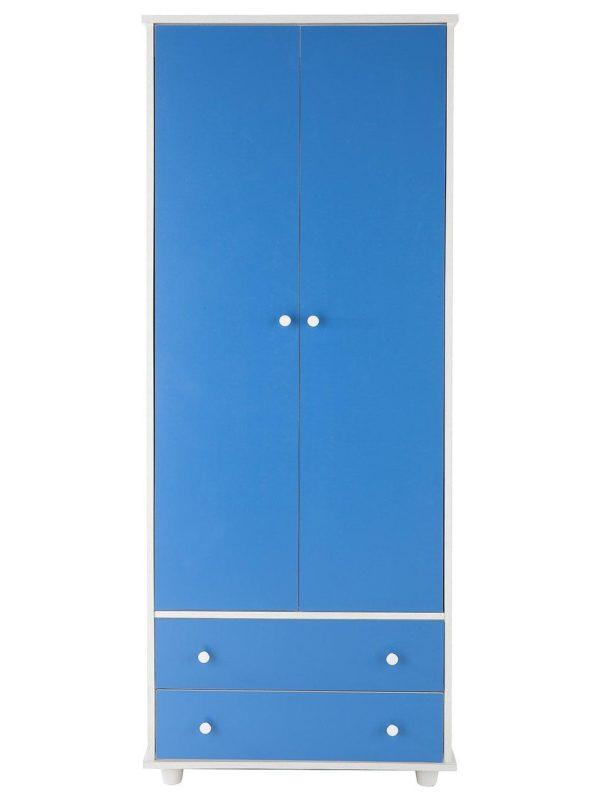 Kid's 2-door wardrobe with blue doors and drawers