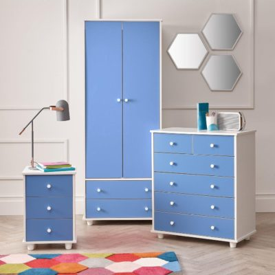 Blue and white bedroom furniture