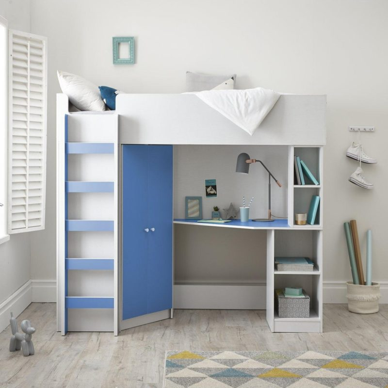 High sleeper bed with blue trim