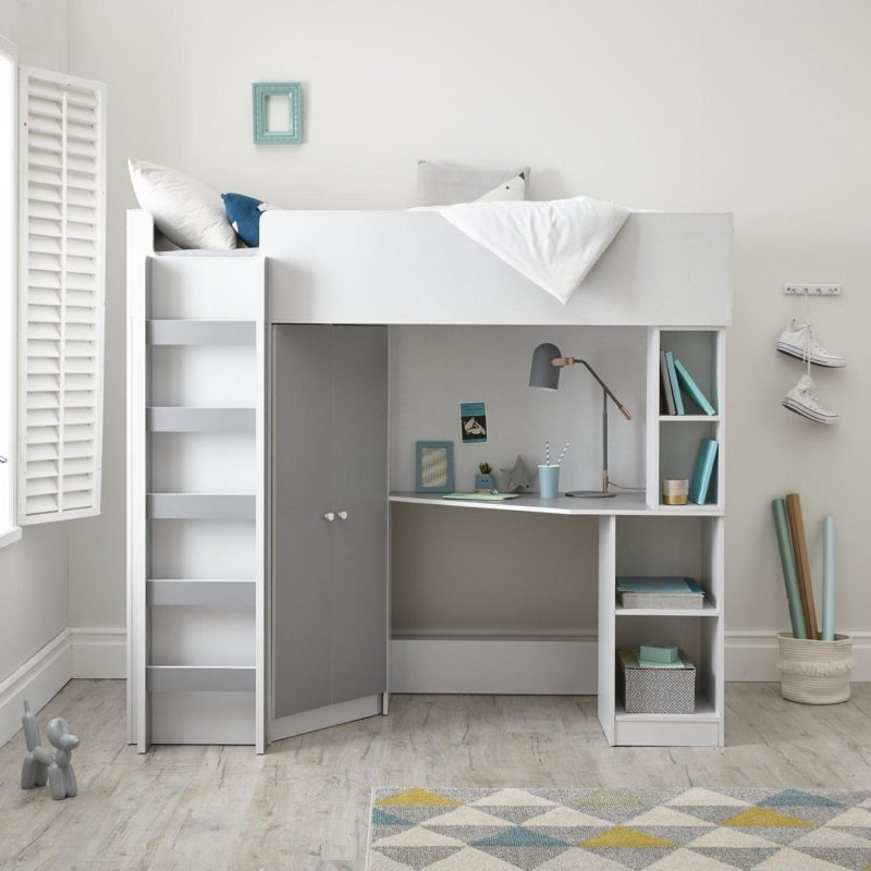 Kid's high sleeper bed with grey trim
