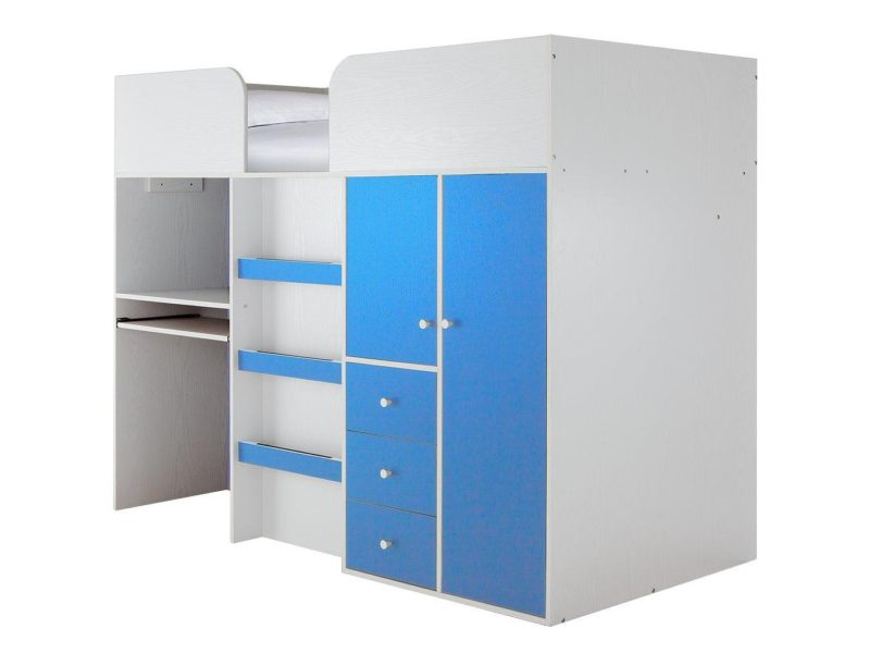 Mid-sleepr storage bed with blue trim