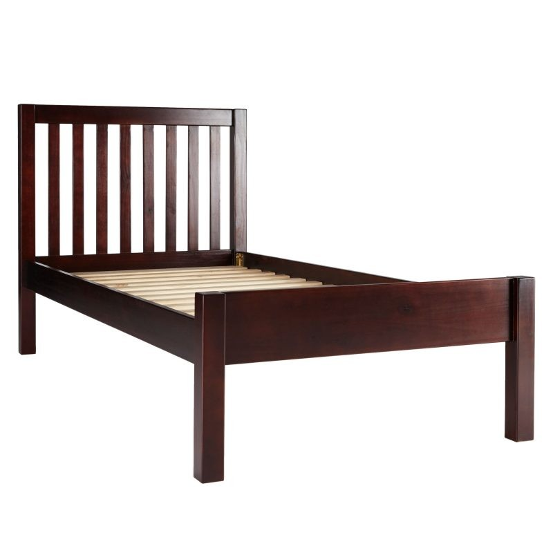Child's single bed with dark frame