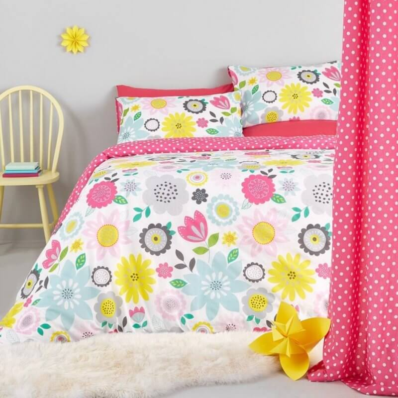 Bright coloured floral bed set