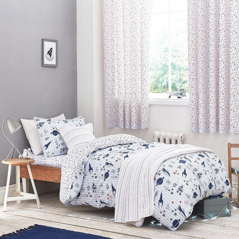Blue and white pinstripe bedding with space theme graphics