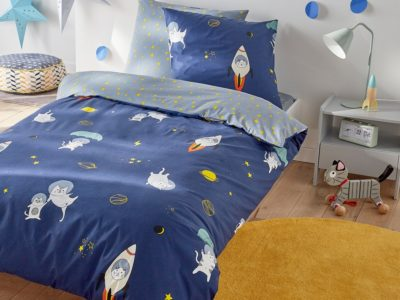 Blue space travel themed bedding